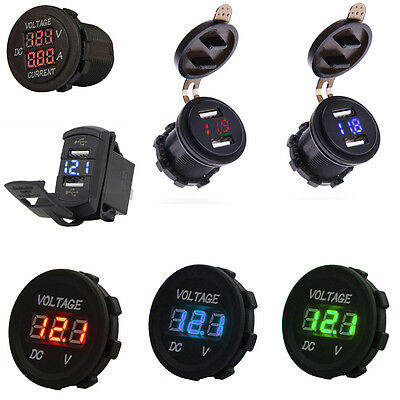 Car Atv Auto Dual Usb Charger Led Digital Voltage Amp Gauge Ammeter Voltmeter