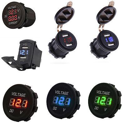 12v Dual Usb Charger Led Digital Display Voltage Amp Gauge Ammeter Voltmeter