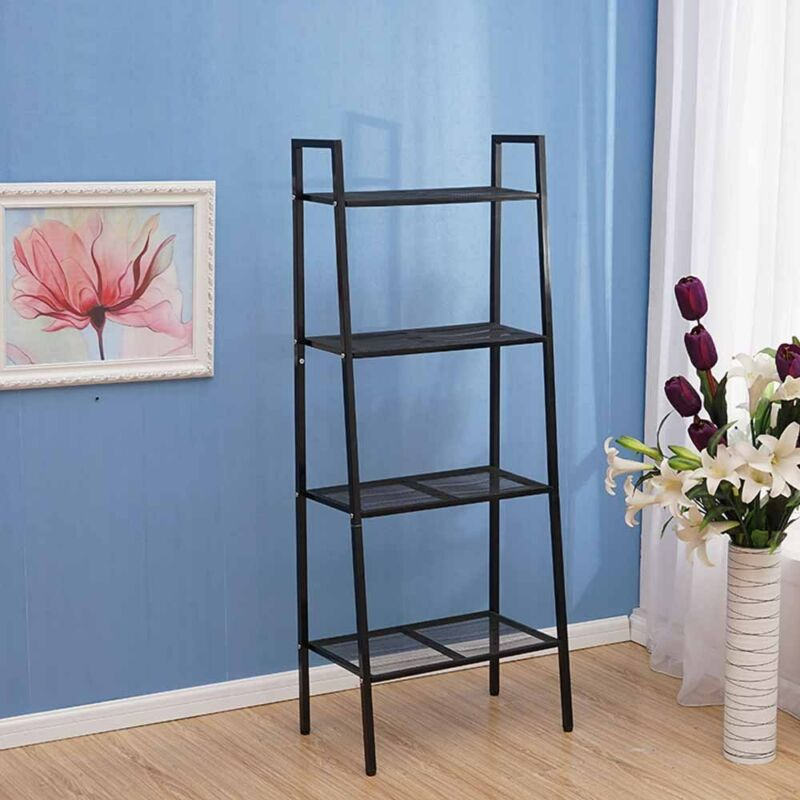 4 Tier Leaning Ladder Shelf Bookcase Bookshelf Storage Shelves Unit Organizer