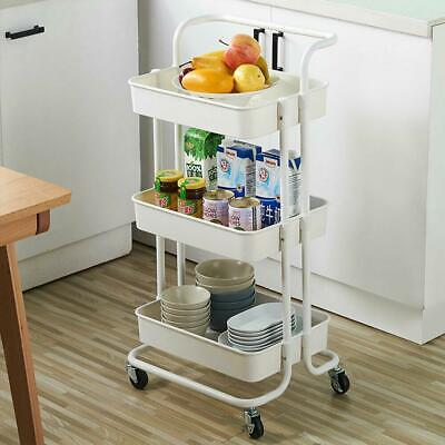 3Tier Heavy Duty ABS Rolling Utility Cart Storage Organizer Art Craft Cart White Home & Garden