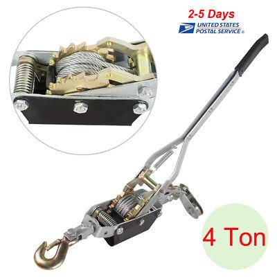 Usa 4 Ton 8000lb Hand Puller Come Along Cable Hoist Hook 8000lb Heavy Duty