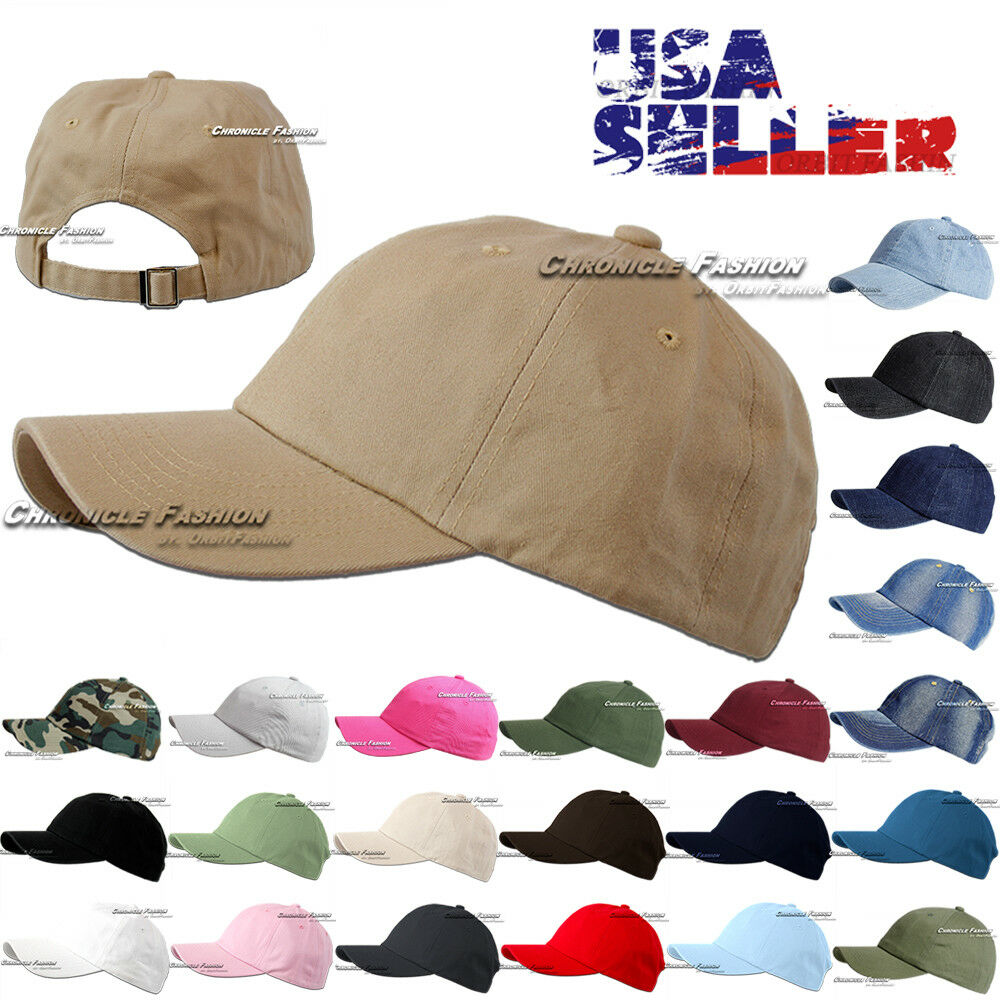 Baseball Cap Washed Cotton Polo Style Adjustable Plain Solid