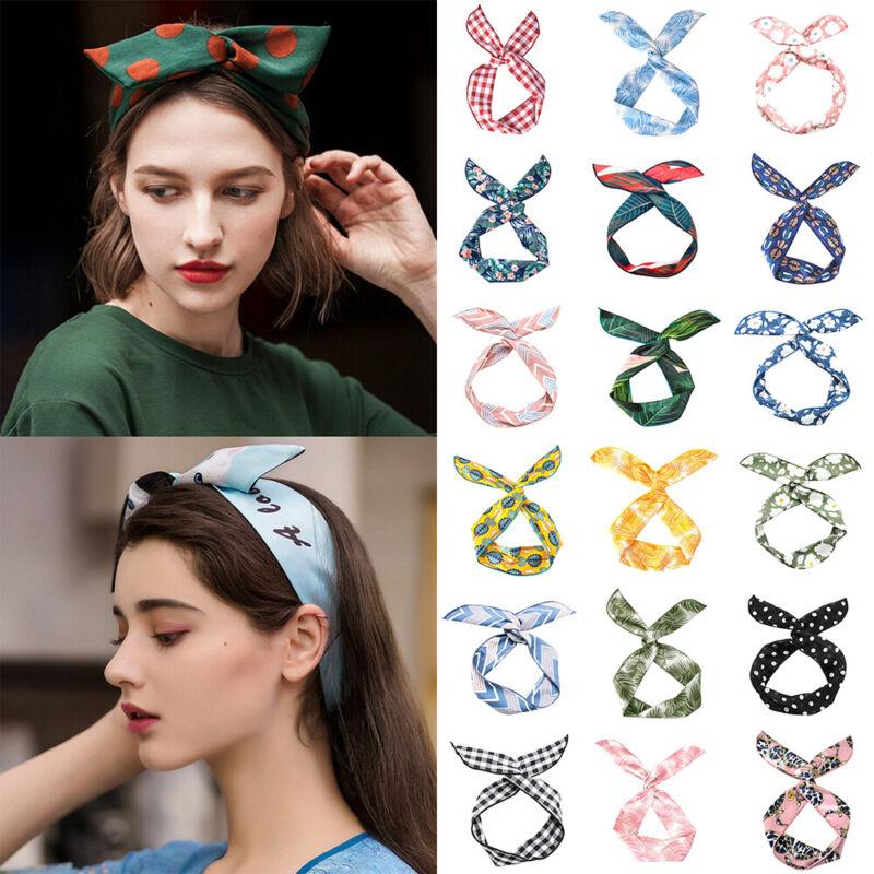 Make -up Kopfband mit Schal Metalldraht Ribbon Bunny Ears Haarband Kreuz Knoten