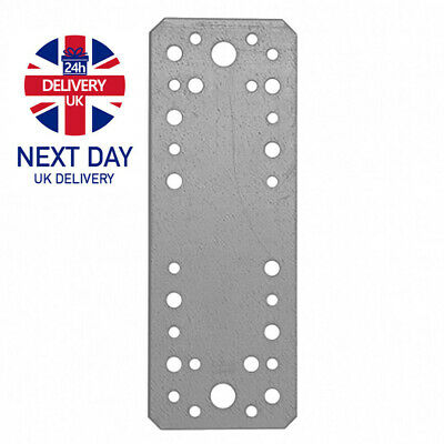 Heavy Duty Straight Galvanised Steel Perforated Flat Bracket Join Plate Mending