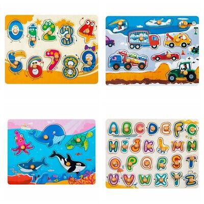 Robotime Knob Peg Puzzle Number Alphabet Learning Preschool Toy Baby Toddlers