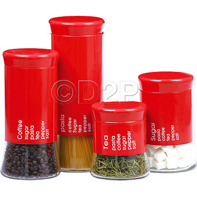 4PC TEA COFFEE PASTA SUGAR KITCHEN GLASS JAR CANISTER STORAGE CONTAINER SNACKS