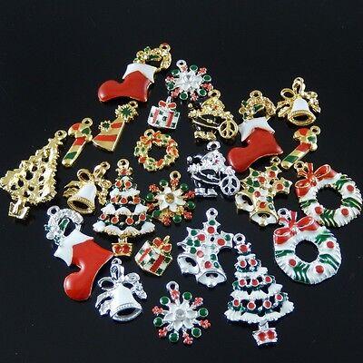 10X Vintage Style Christmas Series Enamel Tree Sock Donuts Gift Bell Pendant