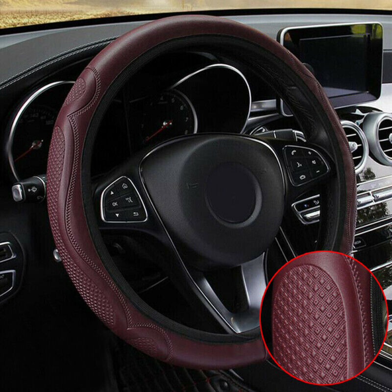 38cm 15/'/' Car Autos Steering Wheel Cover Red Non-Slip Handle Breathable Leather