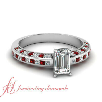 Inline Series Red Ruby Engagement Ring 1.15 Ct Emerald Cut Diamond GIA Certified