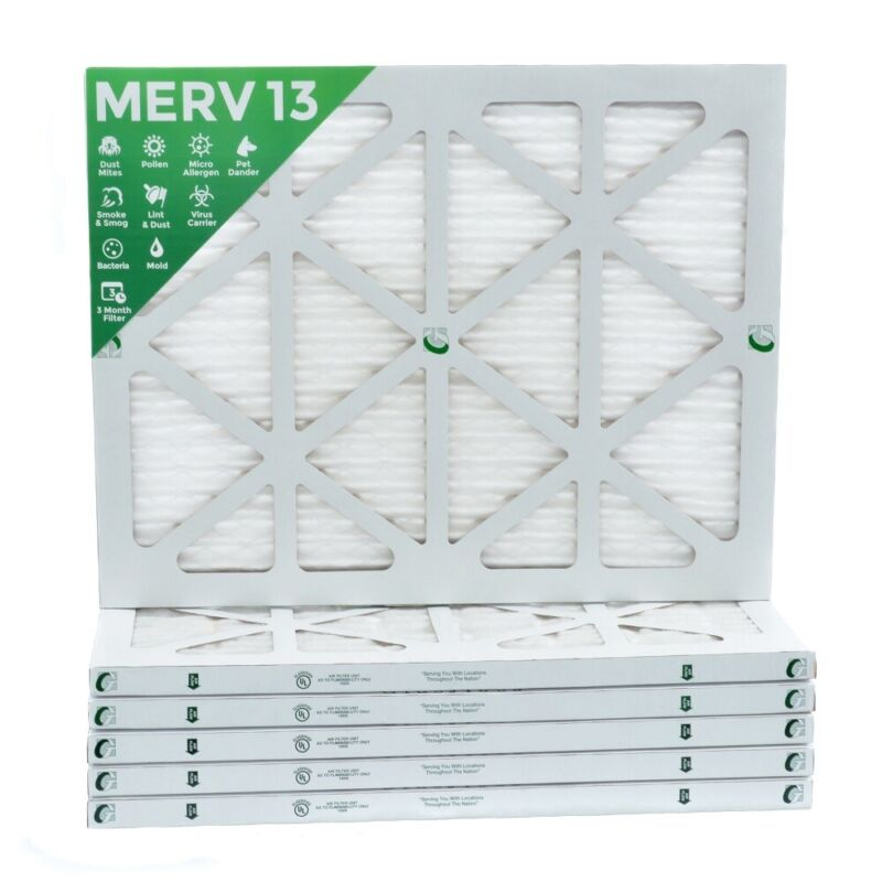 14x20x1 MERV 13 Pleated Air Filters. 12 PACK. Actual Size: 13-1/2 x 19-1/2 x 7/8