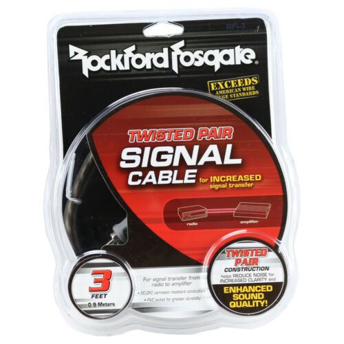 Rockford Fosgate RFI-3 3 ft. 2-Channel Twisted RCA Interconnect Cable RFI3 NEW