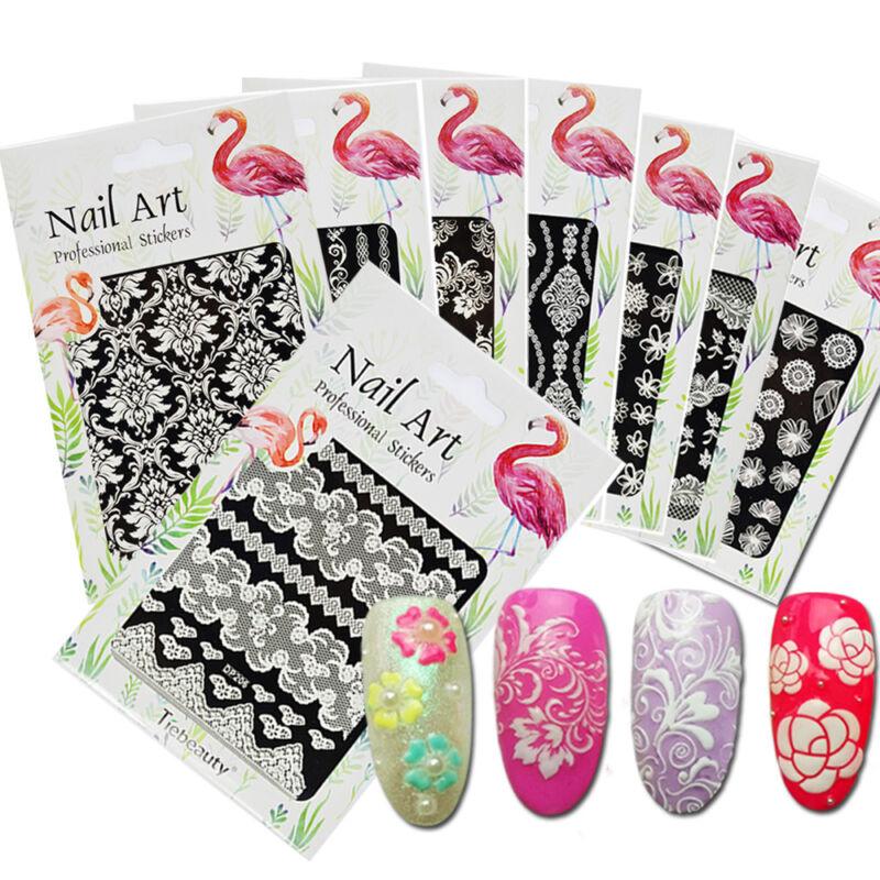Fashion 3D Nail Art Stickers White Flower Lace Leaf Theme Manicure ...