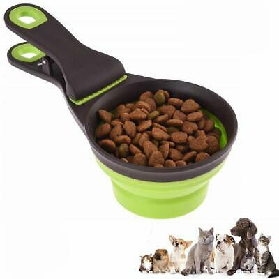 Kuiji 3 In 1 Food Scoop, 237ml Collapsible Pet Food Measuring Spoon Clip Food St