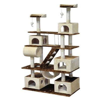 (Go Pet Club Huge 87.5 in. Cat Tree Condo House Furniture, Beige / Brown, 87.5)