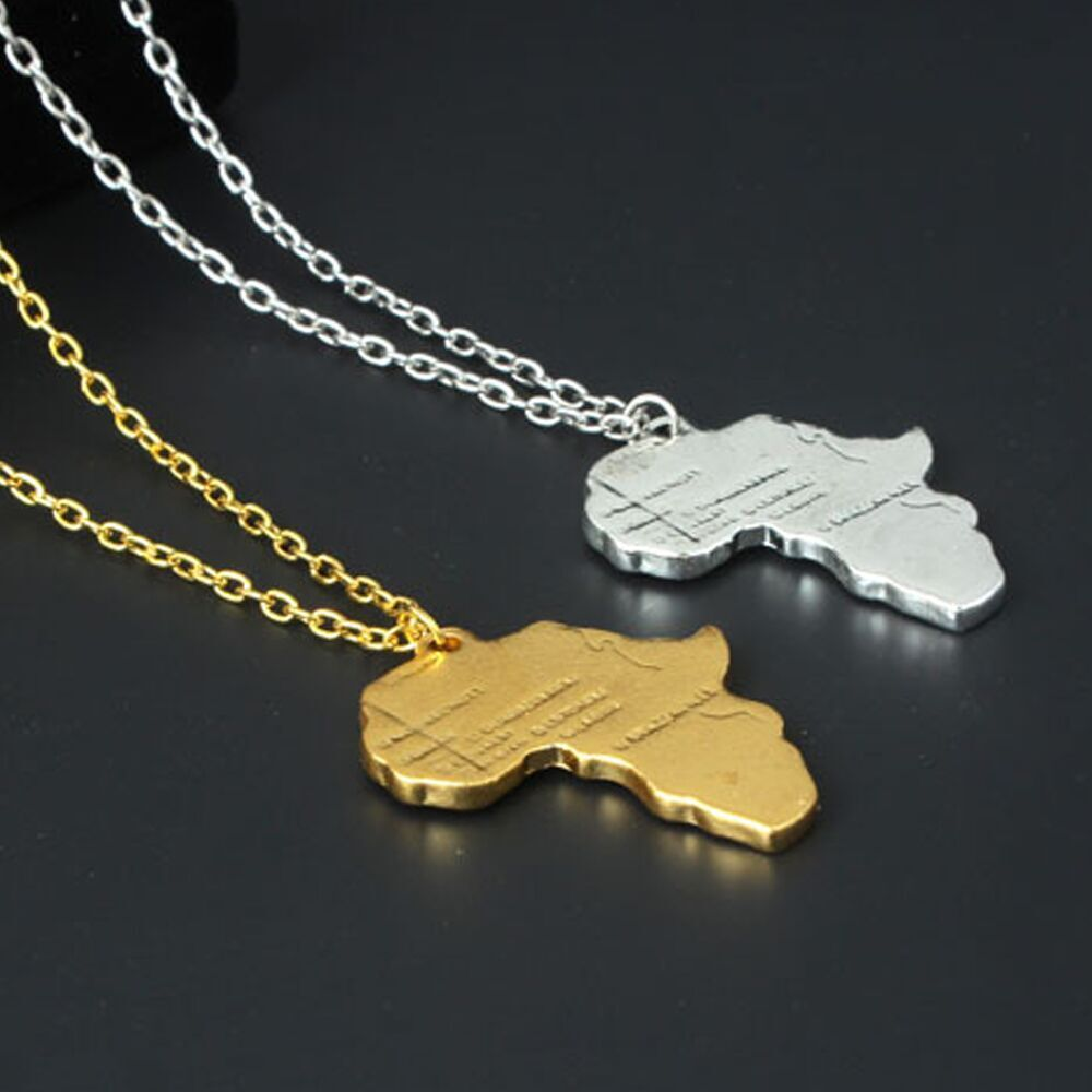 Gold Plated Silver Necklace Set 290 00: Africa Map Unisex Jewelry Gold/Silver Plated Necklace