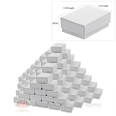 100 White Swirl Cardboard Cotton Filled Jewelry Gift Boxes 1 78 X 1 14 X 58