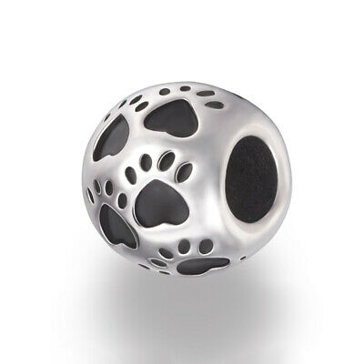 Stainless Steel Cat / Dog Paw Print European Bead Paw Charm Fit Charm -