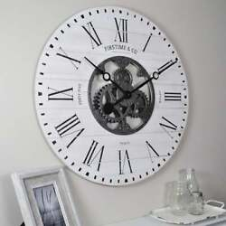 Large Round Industrial Decor Wood Shiplap Metal Gears Wall Clock Roman Numerals