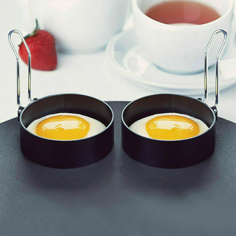 2PCS Non Stick Stainless Steel Egg Ring Frying Round Fried/Poached Mould+Handle