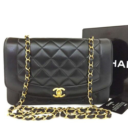 CHANEL Quilted Matelasse Diana 25 CC Logo Lambskin Chain Shoulder Bag /oo154