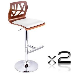 Set of 2 PU Leather Wooden Kitchen Bar Stool Padded Seat White Melbourne CBD Melbourne City Preview
