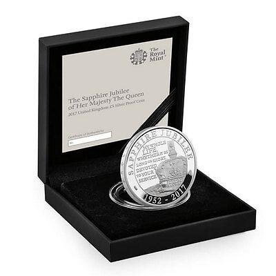 2017 Great Britain Queen Elizabeth II Sapphire Jubilee Silver Proof £5 SKU45924