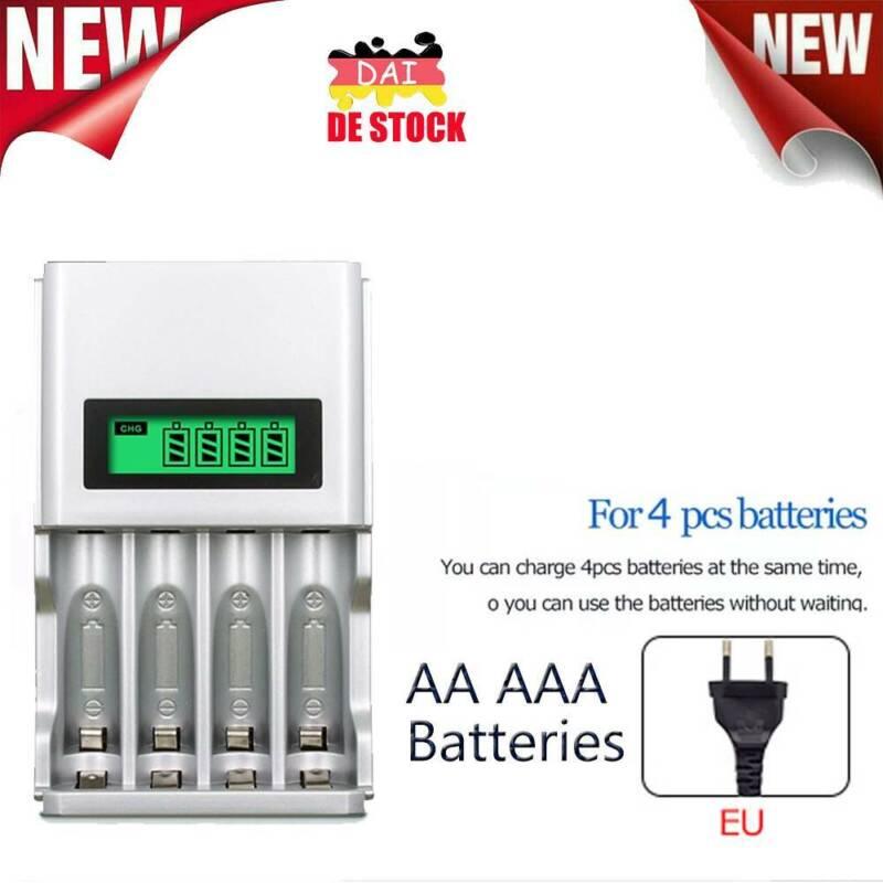 4-Akku Ladegerät Charger Batterie Aufladegerät AA AAA Schnelladegerät DE