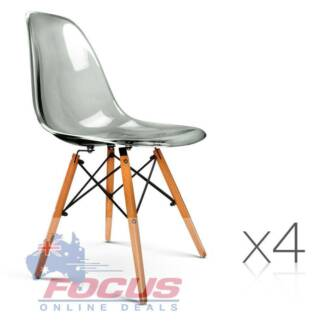 Set of 4 Replica Eames Dining Chairs - Transparent Grey