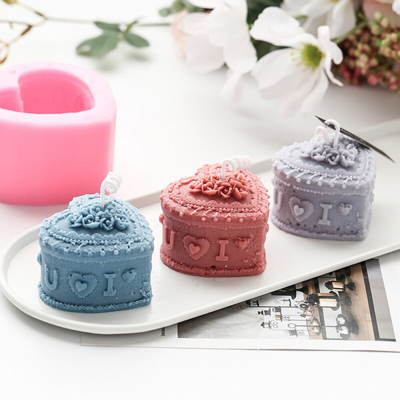 Heart Rose Flower Soap Candle Silicone Mold Aroma Wax Making DIY Wedding Decor