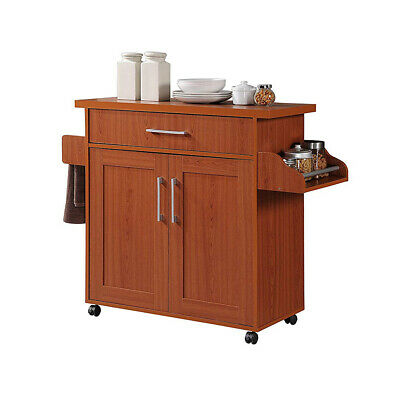 Hodedah Wheeled Kitchen Island Cart with Spice Rack and Towel Holder, Cherry