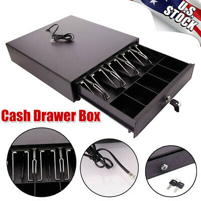 Stainless Steel Cash Drawer Box Works Home Commercial Use 4-compartment Cash Box