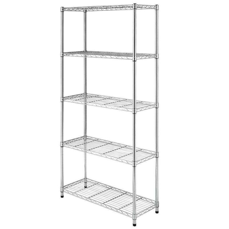 3/4/5Tier Wire Unit Shelving Rack Chrome Shelf Adjustable Organizer Storage Unit