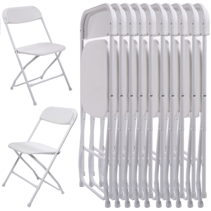 New 10Pcs Commercial White Plastic Folding Chairs Stackable Wedding Party Chair