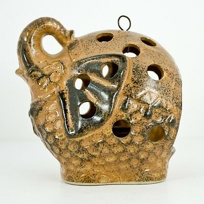 Old-fogyish Pottery Elephant Hanging Standing Tealight Candle Holder Lantern Japan