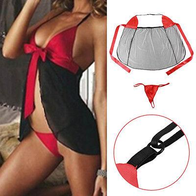 Damen Negligee Sexy Reizwäsche Kostüm String Bekleidung Unterwäsche Set (Nylon Übergröße Kostüm)
