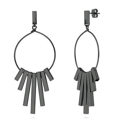 BERRICLE Black-Tone Bar Fashion Statement Dangle Drop Earrings
