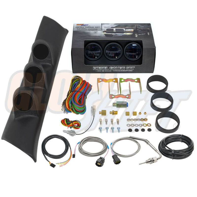 T7 Boost EGT Trans Temp Gauges + Triple Pod for 94-97 Dodge Ram 3500 12v Cummins