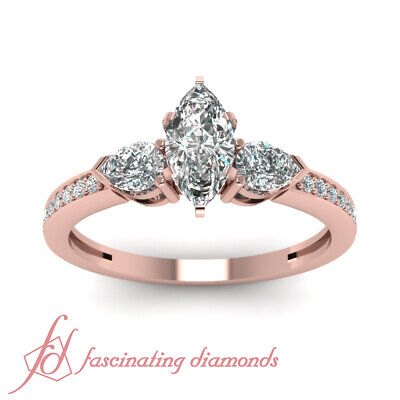 Pear And Marquise Diamond Accented 1 Ct Unique Engagement Ring In Rose Gold GIA 1