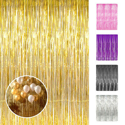 3x8ft Metallic Tinsel Foil Fringe Curtain for Party Photo Backdrop Wedding Decor - Photo Decorations For Parties