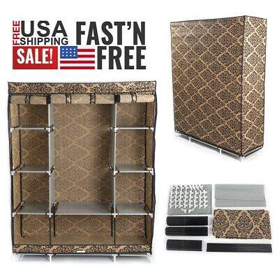 Dustproof 4-Layer Portable Wardrobe Closet Storage Organizer Clothes With Shelf