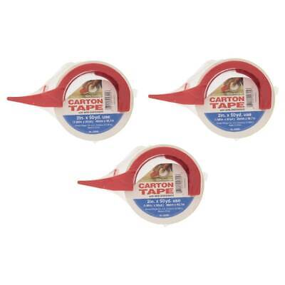 Carton Tape Clear With Mini Dispenser 2in X 50yd Ship Packing Tape 250md 3-pack