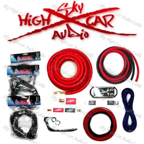 Sky High Car Audio Red 1/0 AWG to Dual 4 Gauge Complete Amp Kit Split Ga