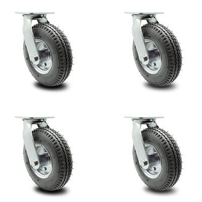 Scc 8 Gray Pneumatic Wheel Swivel Casters Wbolt On Swivel Locks - Set Of 4