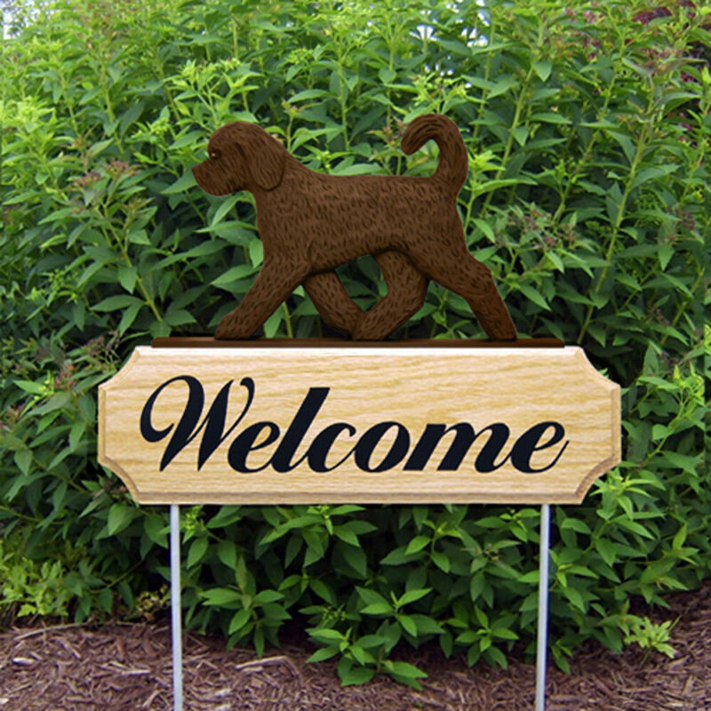 Goldendoodle Wood Welcome Outdoor Sign Chocolate