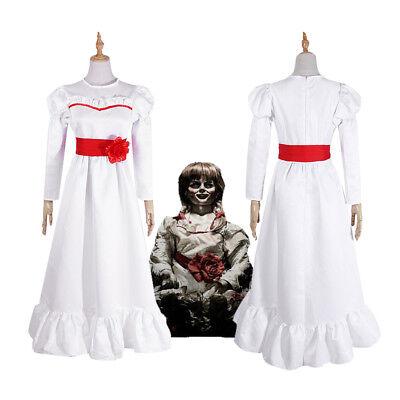 Annabelle Creation Halloween Horror Doll White Dress Cosplay Costume Fancy Dress (Annabelle Doll Costume)