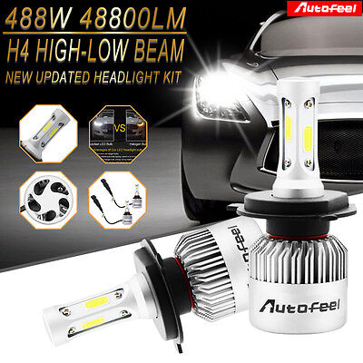 CREE H4 HB2 9003 488W 48800LM Car LED Headlight Kit Hi/Lo Beam Power Bulbs 6000K