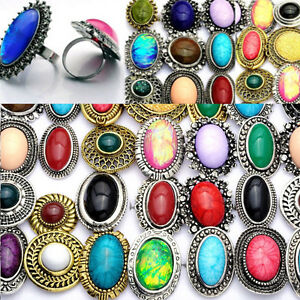 10pcs Vintage Statement Turquoise Stone Cocktail Silver Plated Adjustable Ring
