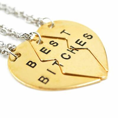 *UK* Gold 'Best Bitches' 3 Piece Heart Pendant Necklace Friends (Best Bitches 3 Piece Necklace)