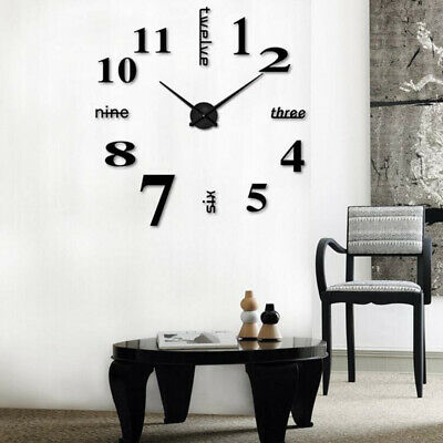 Modern Wanduhr wand Uhr wohnzimmer spiegel Wandtattoo deko xxl 3D DIY Schwarz