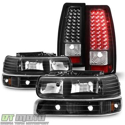 Blk 1999-2002 Chevy Silverado Headlights +Bumper Signal Lamps +LED Tail Lights